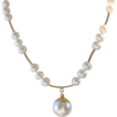 Pearls with Swarovski Glass Pearl Pendant Hand Knotted Necklace