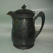 Huge Antique  Silverplate Water Pitcher with enamel interior
