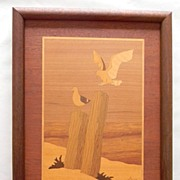 Wood Inlay Seagulls at Beach Artwork signed by artist Nelson