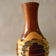 "Wood Inlay 8 1/2"" Tall Vase"