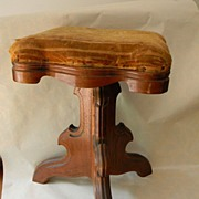 Victorian Piano Stool with Decorative Wood Base