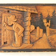 Wood Carving Plaque Folk Art