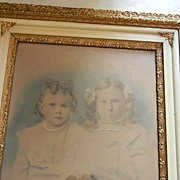 "Early Hand Colored Photo of Little Girls in 24 1/2"" x 28 1/2"" Frame"