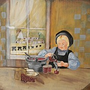 Nancy Miller Folk Art Painting on Wood - Amish Girl Making Jelly