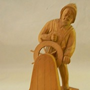 Caron . Wood Sculpture Fisherman