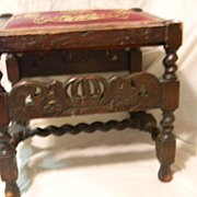 Large Jacobean Style Ottoman Stool with Needlepoint Top & Barley Twists on Legs