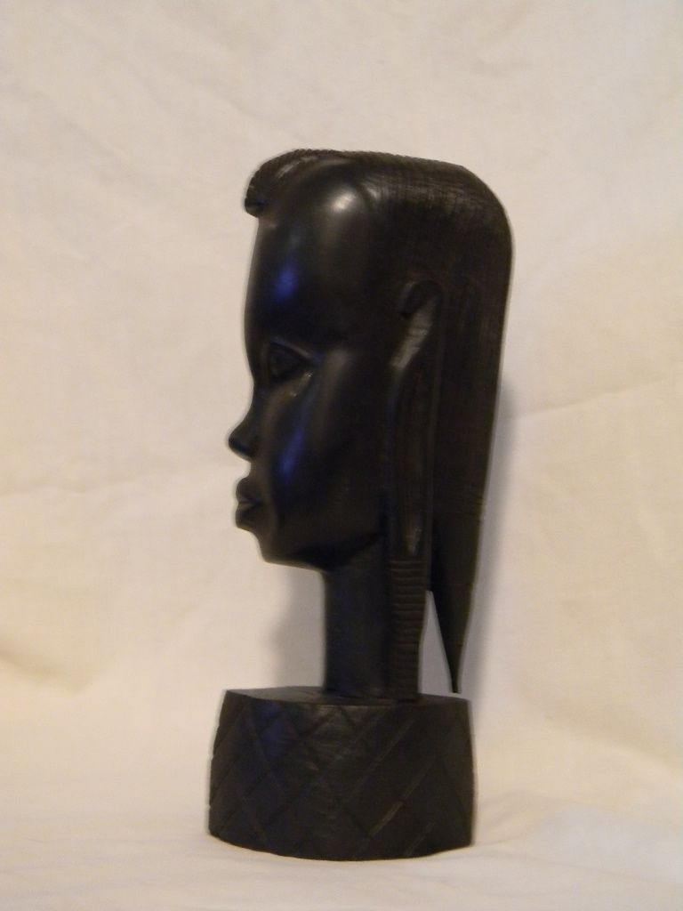 Hand Carved Wood Sculpture Head Bust