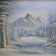 "Antonio . signed 42"" x 30"" Framed Oil painting Winter Landscape"