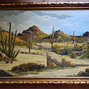 Paul Blum .  40&quot; x 28 1/2&quot; Framed Southwest Oil on Canvas painting