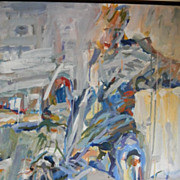 Patricia Friend . 1965 . 31 x 26 Large Abstract Oil Painting