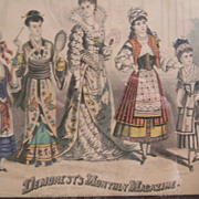 1878 Demorest's Magazine Ladies Fashion Engraving