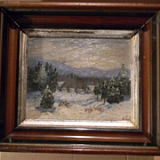 Older Oil on Canvas Oil painting in deep Walnut Frame . Winter Landscape . Signed