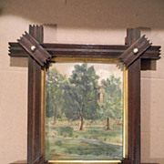 Signed . Oil painting Landscape in Victorian Walnut Cross Corner Frame