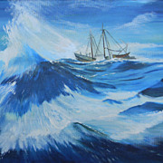 "Nic Glowacky .  30"" x 24"" Oil Painting Seascape Ship at Sea"