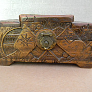 Ornately Carved Small Wood Box . Cedar Lined