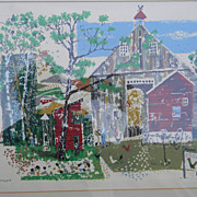 "Ronald Julius Christensen . ""Farmyard"" Serigraph"