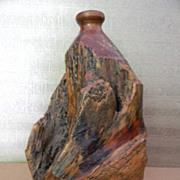 Burl Wood Turned Vase Jug Vessel