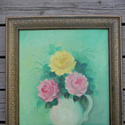 Owens .  Colorful Floral Still Life Oil painting