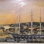 G Whartenby . Oil Painting Harbor Scene . Mystic CT