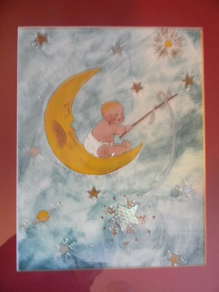 Baby Fishing on Crescent Moon Painting / Drawing