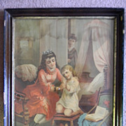 Victorian Chromolithograph in Deep Walnut frame
