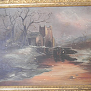 Antique Oil Painting on Canvas . Castle on River Scene
