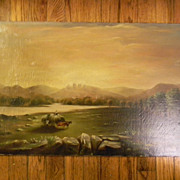Antique oil painting . 26&quot; x 16&quot; . Cows / Hay Wagon / Landscape