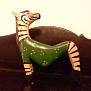 Signed . Folk Art Wood Carved Carving Animal . Zebra Horse