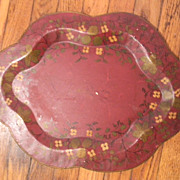Tole Painted Maroon Metal Tray 18&quot; x  14&quot;