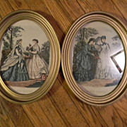 "Pair of Victorian Fashion Prints Framed 11"" x 13"""