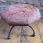 Antique Footstool Foot Stool with Cast Iron Legs