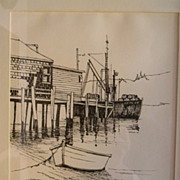 Georgia Dearborn . Pen & Ink Drawing . Cape Cod Fishing Boats