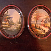 Pair of Small Oil Paintings, Oval Framed