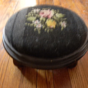 Needlepoint Covered Footstool Foot Stool