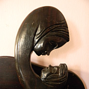 Wood Carved Sculpture Carving . Mother with Child