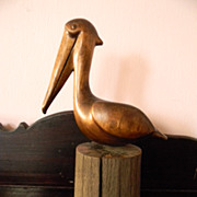 Signed . Wood Carved Pelican Bird Sculpture Carving on Wood Piling