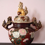 "Great Urn Foo Dog Handles & Finial . 11""  Porcelain  / Pottery"