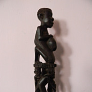 "10"" Wood Sculpture . Three People Carrying Man on Their Heads"