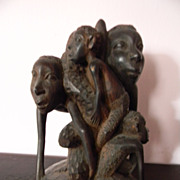 Wood Sculpture . Carved Family Carving
