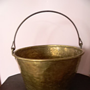 Antique Brass Primitive Bucket / Cooking Kettle