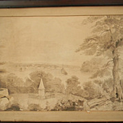 Large Pen & Ink . Sepia Brown Ink . Landscape / Harbor / Cemetery