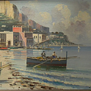 Ciappa .  Signed .  Italian City by the Sea