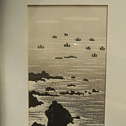 Ink Drawing . Signed .  Rocky Oceanside Scene