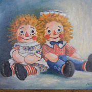 Falcone . signed .  Rag Dolls . oil painting unframed