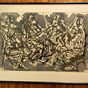 Eugene D. Larkin (1921 - 2010) . Listed artist . Woodcut Print . Quartet No 2