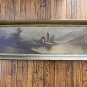 "Vintage Oil Painting Landscape Lake Scene . 45"" long framed"