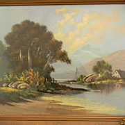 Antique 30&quot; x 20&quot;  Pastel Landscape , Beautiful 36&quot; x 26&quot; Frame