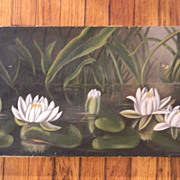 Antique Oil Painting Lily Pads  on Canvas