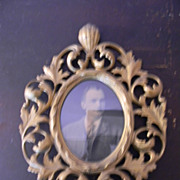 Antique Ornate Metal Frame with Old Photo