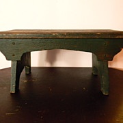 Great Primitive Oak Wood Stool with Green Paint